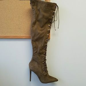 Shoes - Thigh High Boots Faux Suede